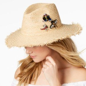 Straw Hat with Sequin Bee, Butterfly and Dragonfly